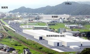 福井県敦賀市に整備される北陸新幹線「敦賀車両基地」のイメージ図(鉄道・運輸機構提供)