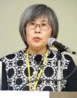地下鉄サリン事件から23年となるのを前に、集会で講演する高橋シズヱさん=17日午後、東京都荒川区