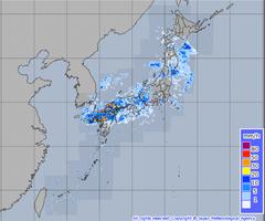 気象レーダーによる降水強度分布観測=8月28日午前8時20分現在(気象庁HPから)
