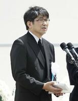 「長崎原爆犠牲者慰霊平和祈念式典」で、平和宣言を読み上げる長崎市の田上富久市長=9日午前、長崎市の平和公園