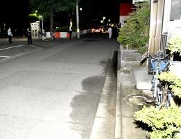 女児が倒れていた現場=5月21日午後9時15分ごろ、福井県福井市城東4丁目