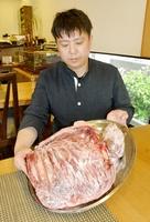 ジビエ料理を扱う飲食店で冷凍保存されているシシ肉=7月8日、福井県福井市大町の洋食居酒屋「華むら」