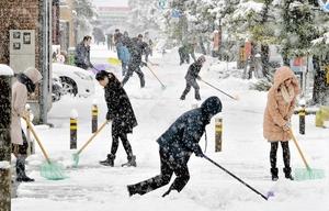 雪かきに励む市民=2018年1月、福井県福井市内