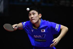 卓球のアジア選手権準々決勝で韓国選手と対戦する張本智和=20日、ジョクジャカルタ(ゲッティ=共同)