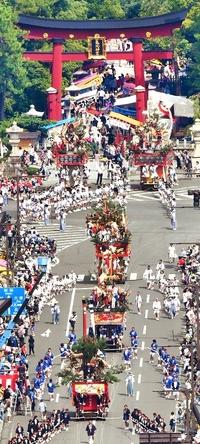 敦賀まつり山車巡行、ヘリから撮影
