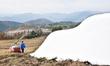 スキージャム勝山、錦秋に雪映える