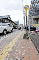 カラスのふんで白く染まる嚮陽通りの歩道=福井県鯖江市本町2丁目