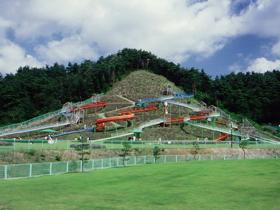 ジャンボ滑り台は子供に人気。日本庭園では四季の花が楽しめる