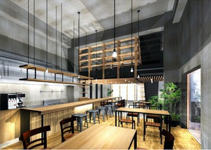 カフェレストラン「sumu」店内のイメージ(未完図)。天井が高く開放感のある空間に