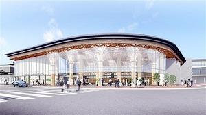 JR芦原温泉駅西口に建設される「賑わい施設」の完成予想図
