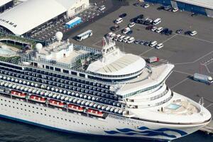 横浜・大黒ふ頭に停泊するクルーズ船「ダイヤモンド・プリンセス」。上は待機する救急車両など=12日午前9時23分(共同通信社ヘリから)