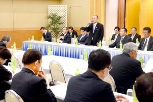 稲田朋美氏らへの対応などについて協議した自民党福井県連の総務会=20日、福井市の福井パレスホテル