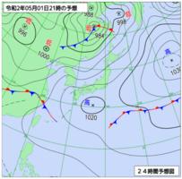 5月1日午後9時の予想天気図(気象庁HPから)