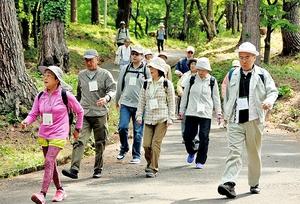 健康増進プログラムの開発に向けた調査で、約1時間の山歩きを行う参加者=5月、福井県越前市の八ツ杉千年の森
