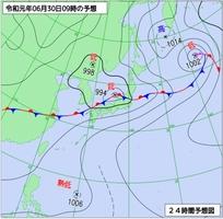 6月30日午前9時の天気予想図(気象庁ホームページより)