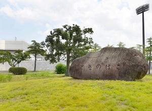 1968年の福井国体の感動を伝える「ときのはこ」埋設地=福井市の福井運動公園