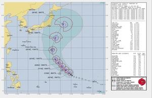 台風21号予想進路、米軍の見方は