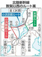 北陸新幹線 敦賀以西のルート案