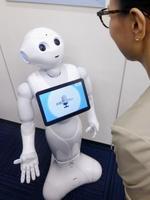 大規模改良されたソフトバンクグループの人型ロボット「ペッパー」=16日、東京都港区