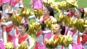 福井しあわせ元気国体の総合開会式で披露された演技=9月29日、福井県福井市の9・98スタジアム