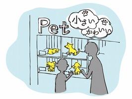コロナ禍で、ペットショップでの子犬・子猫の販売数が倍増しているとされる(イラスト:黒川ツナ子 )
