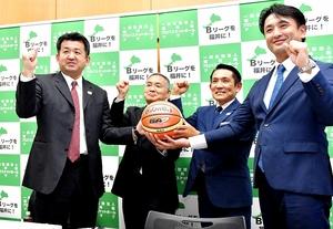 「福井県プロバスケットボールクラブ」の設立記者会見=2020年12月10日、福井県福井市内