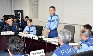 福井県の豚コレラ対策本部会議であいさつする杉本達治知事=7月29日、福井県庁