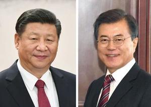 中国の習近平国家主席、韓国の文在寅大統領