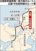 北陸・中京新幹線のルート案