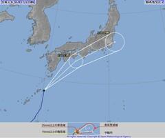令和初の台風になる見通しの熱帯低気圧の進路予想図(気象庁HPから、6月27日午前9時時点)