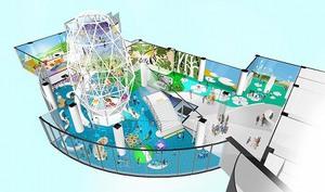 福井県敦賀市が1階に整備する「キッズパークつるが」のイメージ図。吹き抜けを活用して北陸一の高さを誇るネット遊具が設けられる