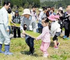 田んぼの近くまで苗を運ぶ参加者=福井県越前市