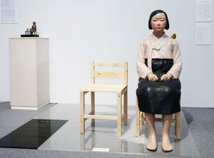 8月3日に「表現の不自由展・その後」で展示された「平和の少女像」=名古屋市