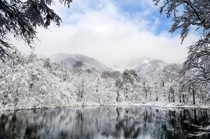雪化粧した刈込池=16日、福井県大野市上打波(加藤幸洋さん提供)