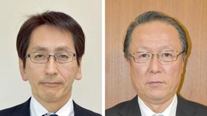 福井県おおい町長選に立候補した(左から)松宮史知氏と中塚寛氏