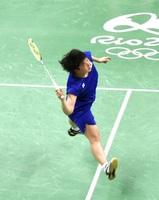 リオデジャネイロ五輪バドミントン女子シングルス1次リーグに登場した山口茜=リオデジャネイロ