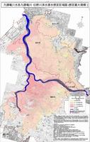 想定される最大規模の雨で九頭竜川、日野川が氾濫した場合に想定される浸水区域図。流域の広い範囲に被害が及ぶ可能性がある(福井河川国道事務所ホームページより)