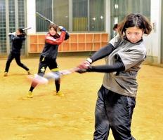 打撃練習に励む、成年女子で主体となる福井フェニックスの選手ら=坂井市丸岡屋内球技練習場
