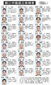 定数20に25人立候補 鯖江市議選 元職新人8人 30日投開票