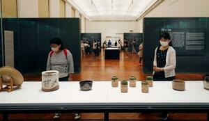 再開した東京国立博物館でマスクを着けて展示を見る来館者=2日午前、東京都台東区