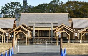 皇位継承の重要祭祀「大嘗祭」の舞台となった大嘗宮=21日午前、皇居・東御苑