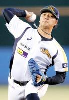 7回1失点で好投した福井の先発浜田俊之=金沢市民野球場