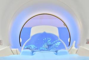 検査中にモニター画面(奥)の映像が見られるMRI=福井市の福井県済生会病院
