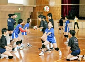 北陸高校女子バレーボール部員からレシーブのこつを学ぶFSV-DWの選手(青いユニホーム)=福井県福井市の県社会福祉センター体育館