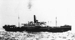 第1次大戦末期、ドイツ潜水艦に撃沈された日本郵船の貨客船「平野丸」(日本郵船歴史博物館提供・共同)