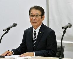 記者会見する関西テレビ新社長に就任する羽牟正一氏=19日午後、大阪市
