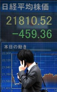 東証大幅反落、終値459円安