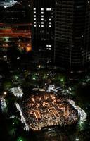 阪神大震災の発生から24年目の朝を迎えた、追悼会場の東遊園地=17日午前5時54分、神戸市中央区