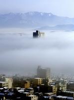 深い霧に包まれ浮かび上がるハピリン=19日午前9時ごろ(福井市自然史博物館から吉澤康暢さん撮影)