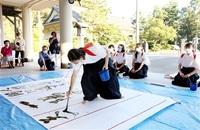 コロナ終息、筆に込め 藤島高生ら奉納揮毫 県護国神社 みんなで読もう